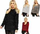 Womens Baggy Oversized Knitted Long Sleeve Lined Top Ladies Fluffy Jumper