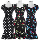 50s 60s Mermaid Pinup Vintage Retro Style Howsewife Bodycon Pencil Party Dresses