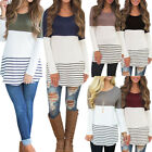S-5XL Women Casual Tops Striped Shirt Loose Crew Neck Blouse Long Sleeve T-shirt