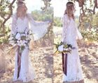 Sheer White Floral Crochet Lace Angel Sleeve Deep V Neck Hippie Wedding Dress