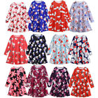 Toddler Kid Baby Girl Christmas Snowman Clothes Long Sleeve Party Princess Dress