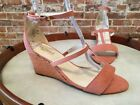 Twiggy London Cognac Brown Ankle Strap Wedge Heeled Sandal New