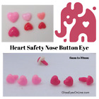 32 Heart Safety Noses Buttons Eyes 6mm or 8mm or 10mm or 12mm Teddy Bears  HN-1