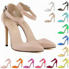 Ladies Patent High Heels Strap Corset Sandals Work Pumps Court Shoes Size UK 2-9