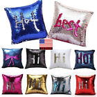Reversible Mermaid Pillow Sequin Cover Glitter Sofa Cushion Case Double Color US