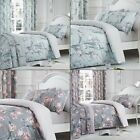 Polycotton Bedding Set with Tulip Floral Design - Duck Egg Blue / Blush Pink