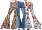 Ladies 1960s 1970s Hippie Hippy Kick Flares Fancy Dress Costume Outfit Trousers