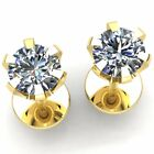 1carat Round Cut Diamond Ladies 6Prong Solitaire Stud Earrings 14K Gold