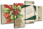 Vintage Greetings Card Christmas MULTI CANVAS WALL ART Picture Print
