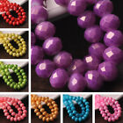 NEW 30pcs 10X8mm Faceted Rondelle Gold Silver Foil Glass Loose Spacer Beads