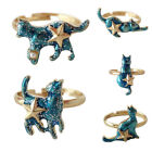 1pc Exquisite Blue Cat Alloy Ring Adjustable Women Trendy Jewelry Festival Gift
