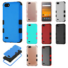 For ZTE Blade Force IMPACT TUFF HYBRID Protector Case Skin Cover + Screen Guard