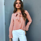 Womens Chiffon Long Sleeve Top Blouse Ladies OL Work Office Casual T Shirts Tops
