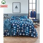 300TC Cotton Percale Quilt Cover Set Alster Blue - DOUBLE QUEEN KING Super King