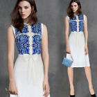 Womens Contrast Floral Printed Bow Casual Work Party Flare Skater A line Dress