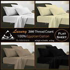 100% Egyptian Cotton Flat Sheets 200TC Percale Bed Sheets, Single,Double,King