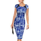 Lady Printing Package Hip Short Sleeve O-Neck Party Dress Formal 2017 Style