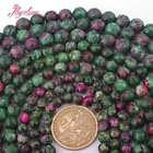 6,8,10mm Round Faceted Dyed Ruby Zoisite Stone Loose Beads Jewelry Making 15""