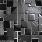 Black Stone Glass Blend Pattern Mosaic Tile Kitchen Backsplash Pool Faucet $21.49 USD on eBay