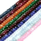 """2x4mm Micro Faceted Multi Colored Jade Gemstone Rondelle Spacer Loose Bead 15.5"""""""