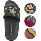Steve Madden Patches/Shimmer Women's Velvet Sandal Slides Assorted Prints