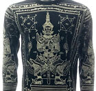 ls22b Irezumi Tattoo Long Sleeve T-shirt Hindu Amulet Vessavana God Lord Rebirth