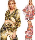 Womens Retro Print Crepe Tied Front Flared Bell Long Sleeve New Ladies Crop Top