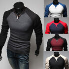 Men's Fashion Casual Shirts Slim Fit Constrat Color Long Sleeve Tops Tee T-shirt