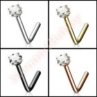 CZ Square L Bend Nose Stud Bar Body Piercing Jewellery