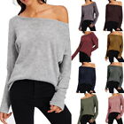 Sexy Women Boat Neck Long Sleeve Batting Sweater Blouse Loose Pullover Tops