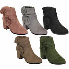 Ladies Chelsea Ankle Boots Suede Look Block Heel Bow Warm Fashion Winter New