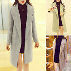 Fashion Wool Blend Long Sleeve Casual Solid Color Lapel Warm Winter Coat Outwear