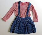 Girl's Blue Skirt with Braces & Red & White Striped Top Set- Age 2-3yrs & 3-4yrs