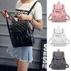 New Women Backpack Synthetic Leather Rivet Decor Solid Backpacks N4U8