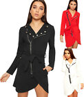Womens Belted Long Sleeve Zip Button Crepe New Ladies Bodycon Mini Blazer Dress