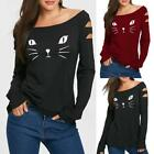 Women Cat Cold Shoulder Loose Casual Long Sleeve Shirt Tops Blouse Sweatshirt