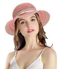 Women's Summer Hat Foldable Floppy Colorful Stripe Hat