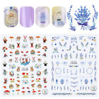 Lavender 3D Nail Sticker Decal Cute Rabbit Squirrel  Transfer Decoration