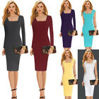 Women Elegant Square Neck Wear To Work Business Casual Party Pencil Sheath Dress