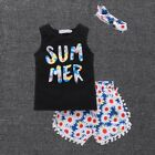 Summer Baby Girls Casual Tops T-shirt Vest+Floral Shorts Pants Headband Outfits