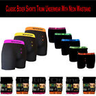 Mens 100% Authentic Classic Boxer Shorts Trunk Underwear With Neon Waistband