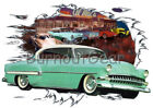 1954 Green Chevy Bel Air HT Custom Hot Rod Diner T-Shirt 54 Muscle Car Tee's