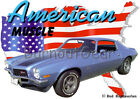 1970 Blue Chevy Camaro Z28 Custom Hot Rod USA T-Shirt 70 Muscle Car Tees