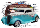 1934 White Chevy Coupe Custom Hot Rod Diner T-Shirt 34 Muscle Car Tees