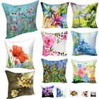 Home Cotton Linen Digital Printed 3D Flower Pattern Cushion Cover