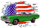 1970 Green Plymouth Road Runner Custom Hot Rod USAT T-Shirt 70 Muscle Car Tees