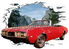 1968 Red Oldsmobile Convertible b Custom HotRod Mountain T-Shirt 68 Muscle Car T