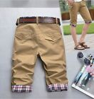 Mens 3/4 Knee Jogger Loose Capri Pants Casual Trousers Middle Pants Pockets GIFT