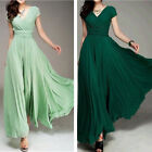 US Fashion Women's Bohemian Maxi Dress Evening Party Prom Dress V-neck 4 Colors