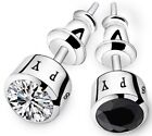 black earrings for men - 7mm Men Women Sterling Silver Post Stud Cubic Zirconia Earrings Gift Box K60